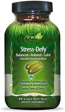 Irwin Naturals Stress-Defy Healthy Stress Response Support Supplement - Relax Body & Mind with GABA, Rhodiola, Scullcap & L-Theanine - 84 Liquid Softgels - Discount Nutrition Store