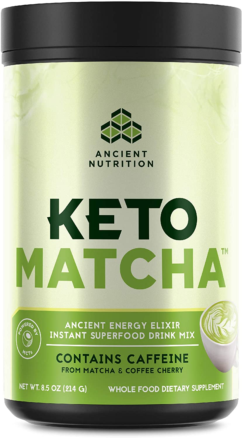 Ancient Nutrition KetoMATCHA Energy Elixir Powder, 20 Servings, Keto Diet Supplement, MCTs from Coconut, Green Tea Leaf, Energy Booster
