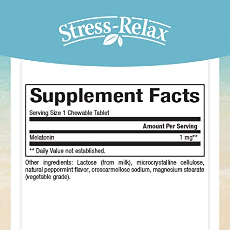 Stress-Relax Melatonin 1 mg by Natural Factors, Natural Sleep Aid, Resets The Sleep-Wake Cycle, 180 chewable Tablets (180 Servings), Peppermint Flavor
