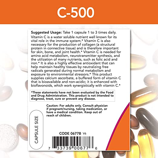 NOW Supplements, Vitamin C-500 Calcium Ascorbate, Antioxidant Protection*, 250 Capsules