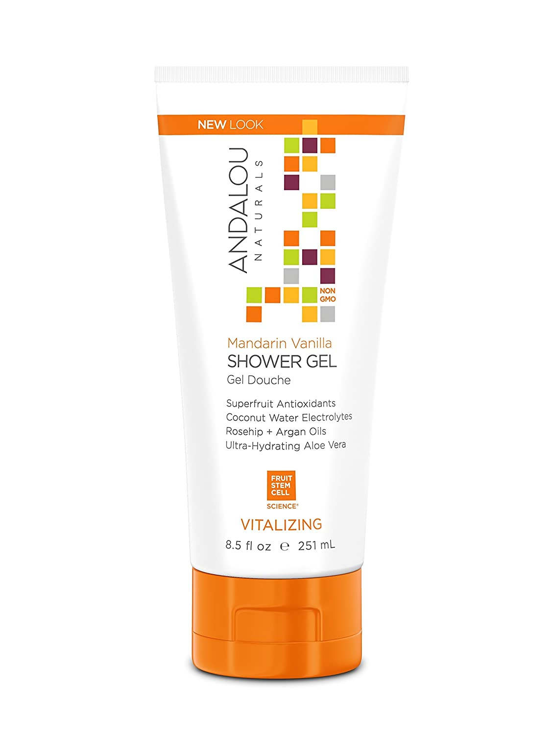 Andalou Naturals Mandarin Vanilla Vitalizing Shower Gel, 8.5 fl. oz., Gently Cleanses and Protects Skin's Moisture with Argan Oil and Coconut Water