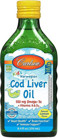 Carlson - Kid's Cod Liver Oil, 550 mg Omega-3s, Vitamins A & D3, Wild Norwegian, Lemon, 250 mL - Discount Nutrition Store