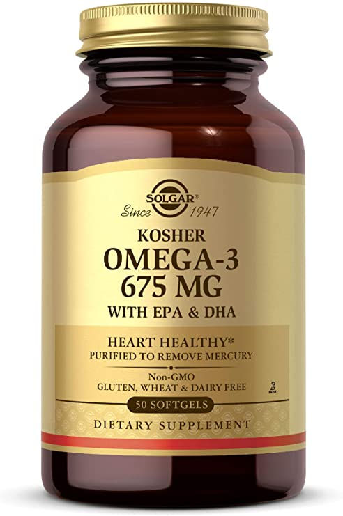 Solgar Kosher Omega-3 675 mg, 50 Softgels - Cardiovascular, Joint & Cellular Health - Omega-3 Fatty Acids EPA & DHA
