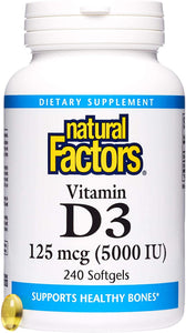 Natural Factors, Vitamin D3 5000 IU, Supports Strong Bones, Teeth, and Muscle and Immune Function with Flaxseed Oil, 240 softgels (240 servings)