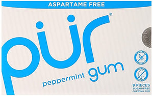 PUR Peppermint 100% Xylitol Chewing Gum, Sugarless Variety Bulk, Sugar free & Aspartame Free, Keto Friendly Gift - Gourmet Gum, Relieves Dry Mouth - Pure Natural Flavored Candy, 9 Pieces