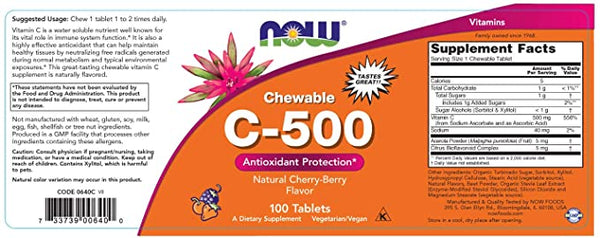 Vitamin C-500 Cherry Chewable Tablets | Antioxidant Protection*