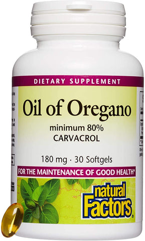 Natural Factors, Oil of Oregano 180 mg, Helps Maintain Good Health with Extra Virgin Olive Oil, 30 softgels (30 Servings)