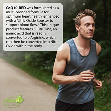 Irwin Naturals CoQ10-RED with Nitric Oxide Booster & MCTs - Advanced Heart Health Formula Supports Healthy Blood Flow & Energy Production - High Absorption Antioxidant Protection - 60 Liquid Softgels