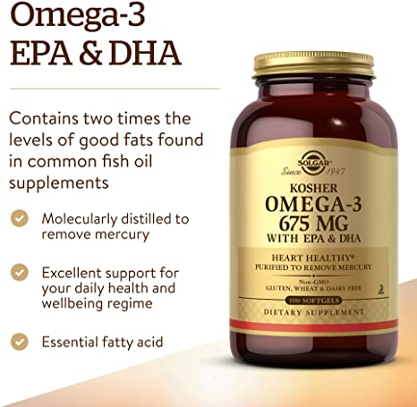Solgar Kosher Omega-3 675 mg, 100 Softgels - Cardiovascular, Joint & Cellular Health - Concentrated Omega-3 Fatty Acids EPA & DHA