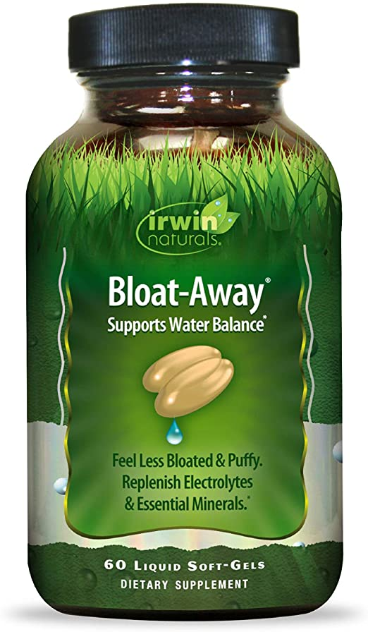 Irwin Naturals Bloat-Away - Water Balance Support - Replenish Electrolytes & Essential Minerals - 60 Liquid Softgels