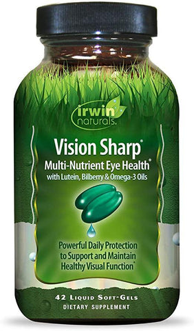 Irwin Naturals Vision Sharp Multi-Nutrient Eye Health with Lutein, Bilberry & Omega-3s - 42 Liquid Softgels - Discount Nutrition Store