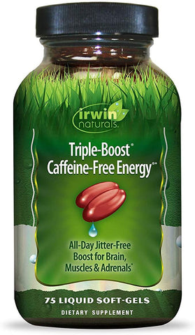Irwin Naturals Triple-Boost Caffeine-Free Energy - Lasting, Jitter-Free Focus - Brain Boosting Nootropic - 75 Liquid Softgels - Discount Nutrition Store