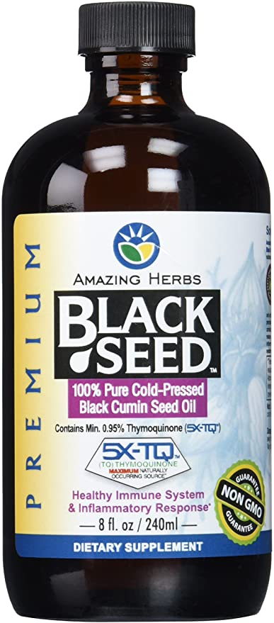 Amazing Herbs Premium Black Seed Oil, 8 Fluid Ounce(Packaging May Vary)