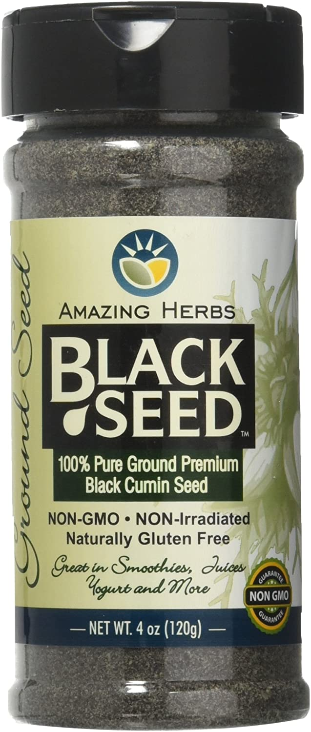 Amazing Herbs Black Ground Seed Jar, 4 Ounce