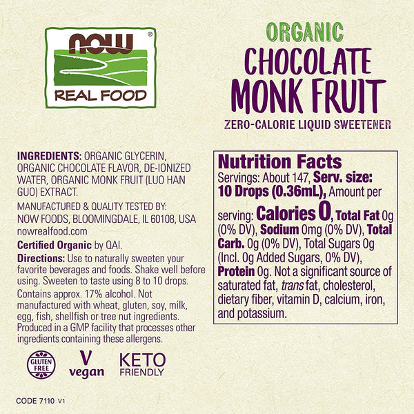 NOW Foods, Organic Liquid Monk Fruit, Chocolate, Zero-Calorie Sweetener, 1.8-Ounce