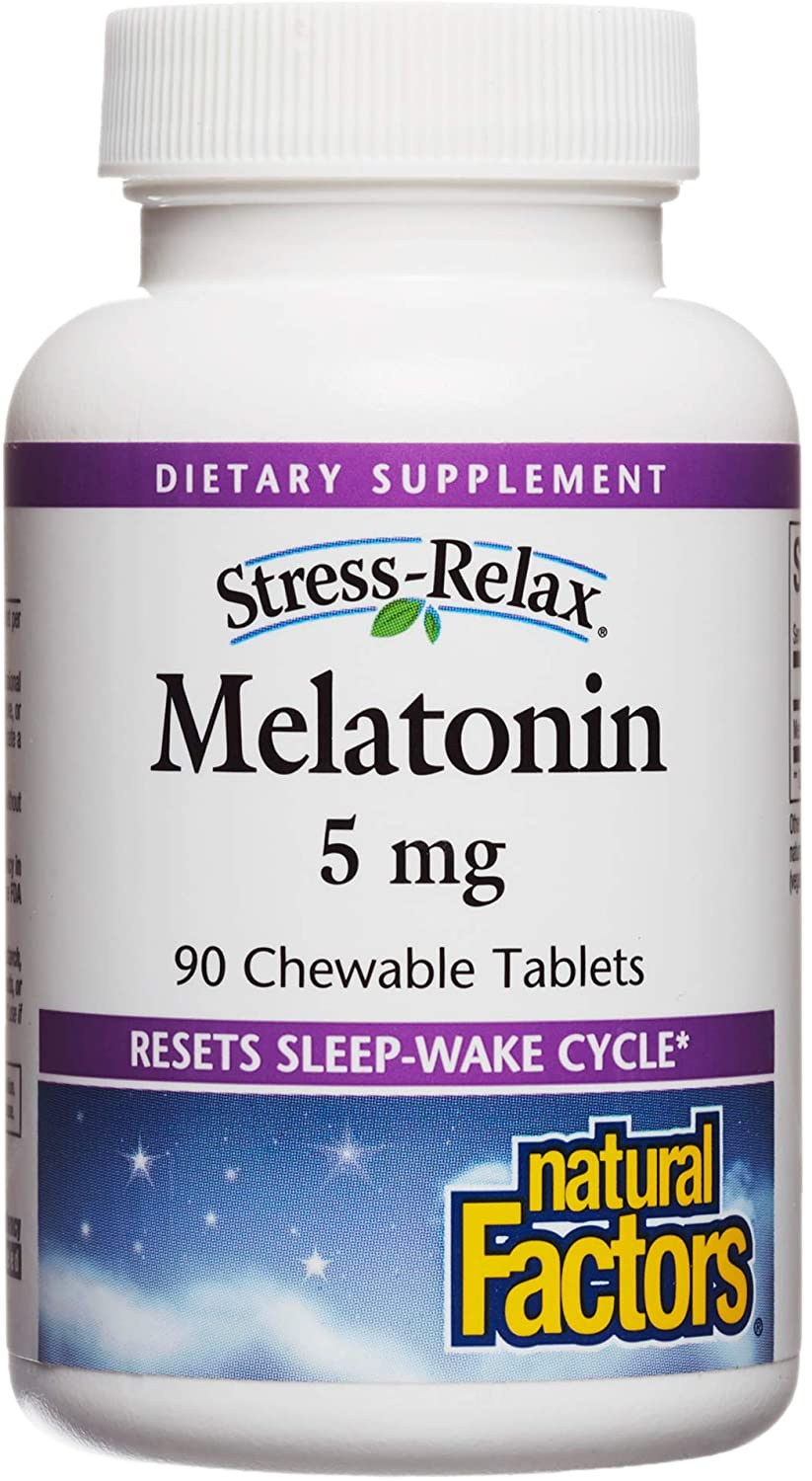 Stress-Relax Melatonin 5 mg by Natural Factors, Natural Sleep Aid, Resets the Sleep-Wake Cycle, 90 chewable tablets (90 servings), Peppermint Flavor