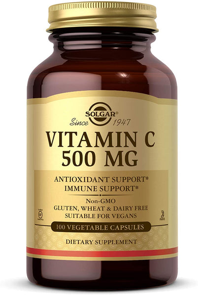 Solgar Vitamin C 500 mg, 100 Vegetable Capsules - Antioxidant & Immune Support - Overall Health - Supports Healthy Skin & Joints - Non GMO, Vegan, Gluten Free, Kosher - 100 Servings
