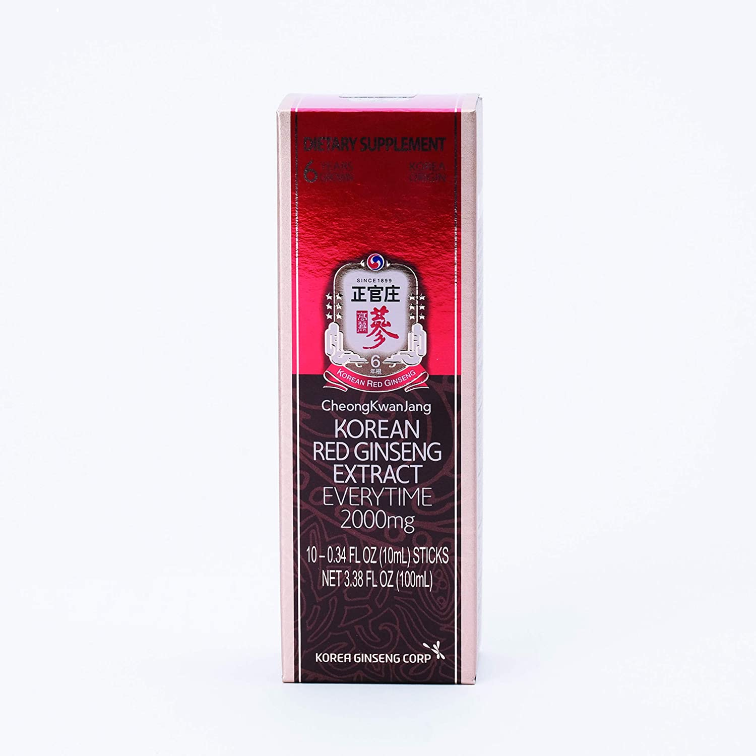 Everytime 2000 Milligrams - Korean Panax Red Ginseng Extract Portable Sticks for Healthy Immune Support and Energy Levels - 10 Stick Packs