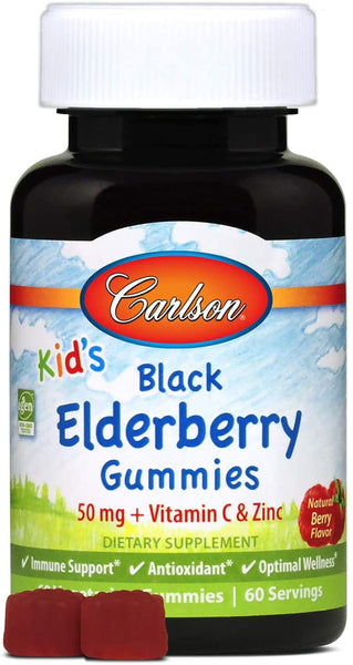 Carlson - Kid's Black Elderberry Gummies. 60 Gummies