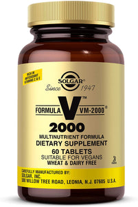 Solgar Formula VM-2000 (Multinutrient System), 60 Tablets - Premium Quality Multiple - Contains Zinc - Supports A Healthy Immune System - Vegan, Dairy Free, Kosher - 30 Servings