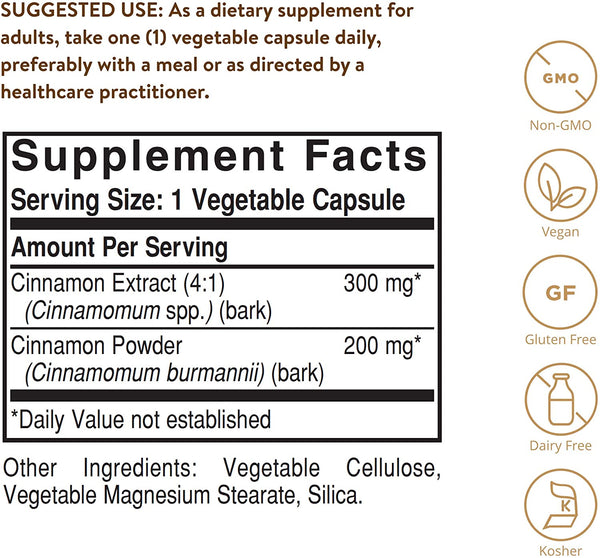Solgar Cinnamon, 100 Vegetable Capsules - Full Potency (FP) - Supports Sugar Metabolism - Overall Wellness - Non-GMO, Vegan, Gluten Free, Dairy Free, Kosher - 100 Servings