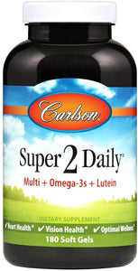 Carlson - Super 2 Daily, Multi + Omega-3s + Lutein + D3, Supports Maintenance of Good Health, 180 Soft gels