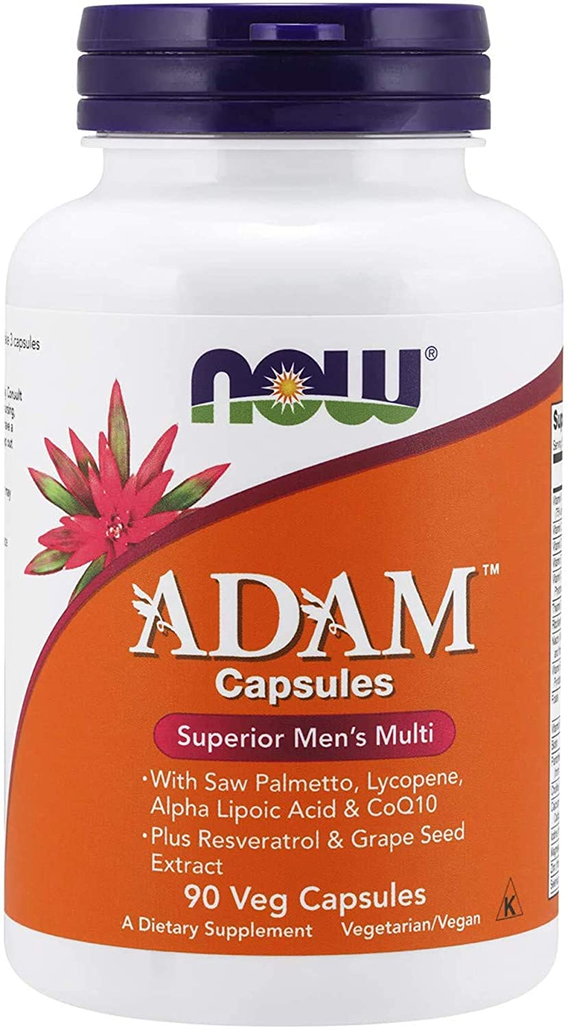 Now Foods ADAM Men's Multivitamin with Saw Palmetto, Lycopene, Alpha Lipoic Acid and CoQ10, Plus Natural Resveratrol & Grape Seed Extract, 90 Veg Capsules