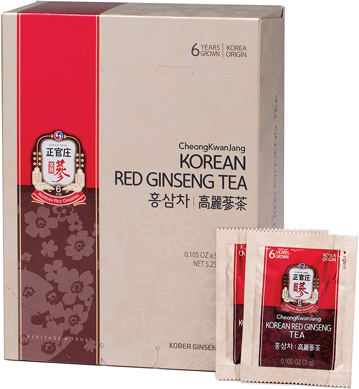 Korean Red Ginseng Tea] Convenient Natural and Organic Ginseng Tea - 50 Bags