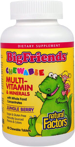 Natural Factors Big Friends, Chewable Multi-Vitamin & Minerals, Jungle Berry, 60 Chewable Tablets
