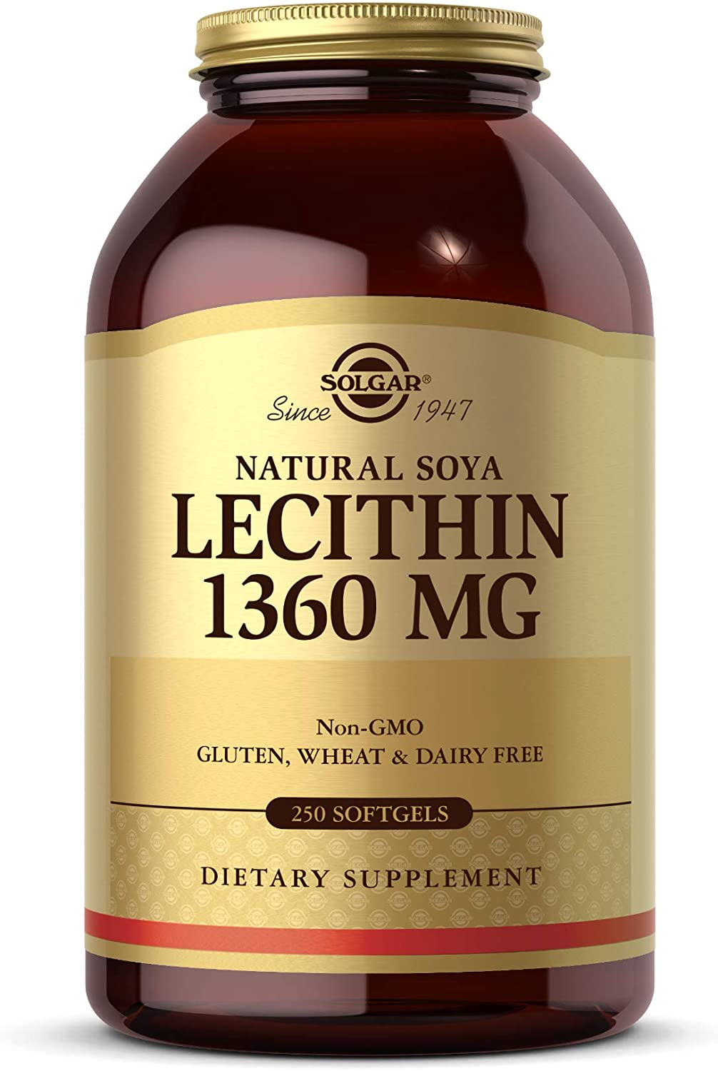 Solgar Lecithin 1360mg, 250 Softgels - Supports Overall Health - Natural Soya Lecithin - Source of Choline & Essential Fat Linoleic Acid - Gluten Free, Dairy Free - 250 Servings