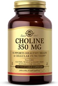 Solgar Choline 350 mg, 100 Vegetable Capsules - Supports Healthy Brain & Cellular Function - Vegan, Gluten Free, Dairy Free, Kosher - 100 Servings