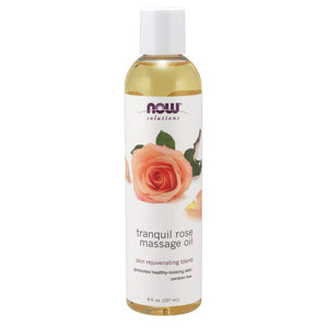 Now Foods NOW Solutions, Massage Oil, Body Moisturizer for Dry Sensitive Skin, Promotes Healthy, Looking Skin,Ounce, 8 Fl Oz, Tranquil Rose