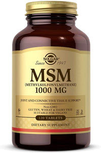 Solgar MSM 1000 mg, 120 Tablets - Supports Joints & Connective Tissue - Non-GMO, Vegan, Gluten Free, Dairy Free, Kosher, Halal - 120 Servings