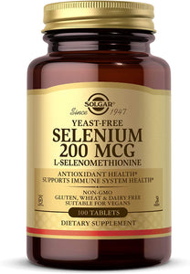 Solgar Yeast-Free Selenium 200 mcg, 100 Tablets - Supports Antioxidant & Immune System Health - Non-GMO, Vegan, Gluten Free, Dairy Free, Kosher - 100 Servings