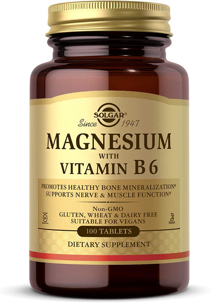 Solgar Magnesium with Vitamin B6, 100 Tablets - Promotes Healthy Bones, Supports Nerve & Muscle Function, Energy Metabolism - Non-GMO, Vegan, Gluten Free, Dairy Free, Kosher - 33 Servings