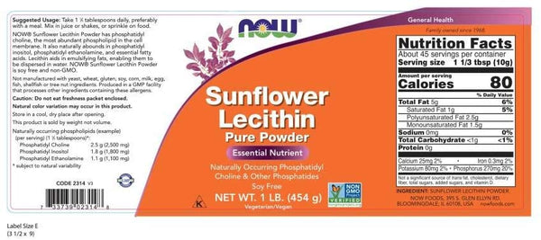 Sunflower Lecithin with naturally occurring Phosphatidyl Choline and Other Phosphatides, Powder, 1-Pound