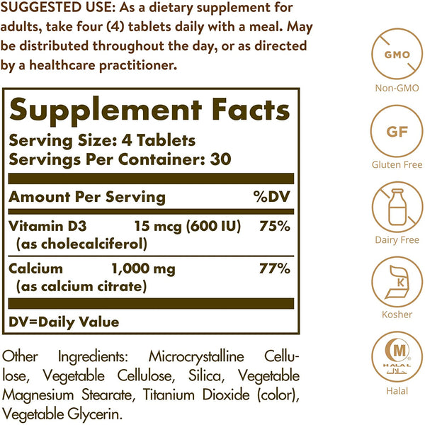 Solgar – Calcium Citrate with Vitamin D3, 120 Tablets