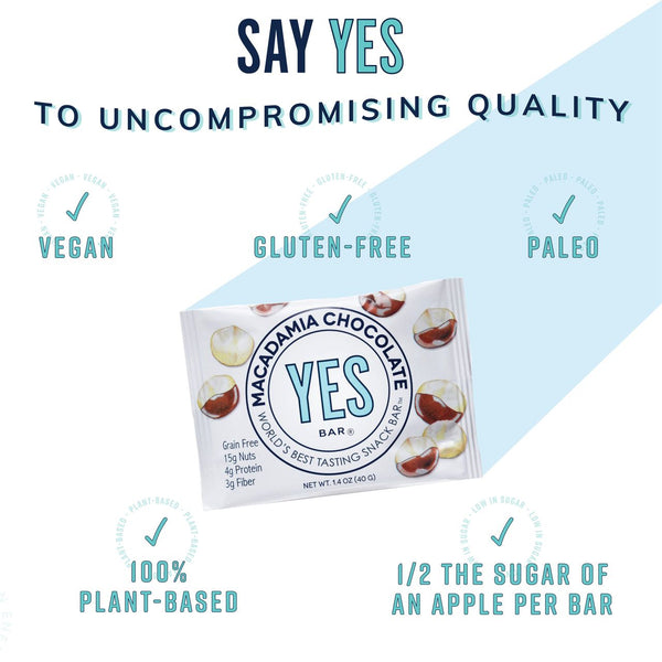 YES Bar Macadamia Cherry Chocolate (Vegan/Paleo/Keto-Friendly) 1.4 oz Bar