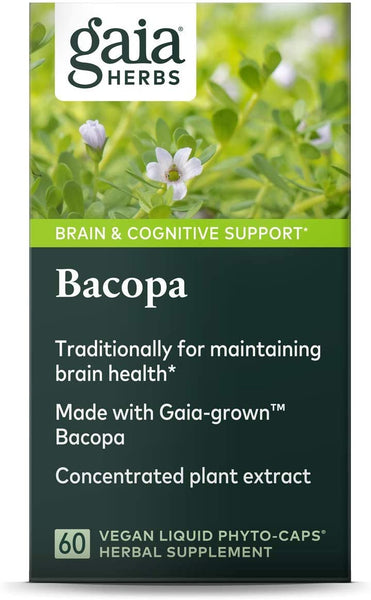 Gaia Herbs, Bacopa, Brain and Cognitive Support, Vegan Liquid Capsules, 60 Count
