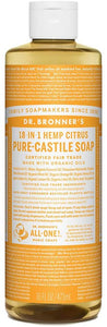 Dr. Bronner's - Pure-Castile Liquid Soap (Citrus, 16 ounce) - Made with Organic Oils, 18-in-1 Uses: Face, Body, Hair, Laundry, Pets and Dishes, Concentrated, Vegan, Non-GMO