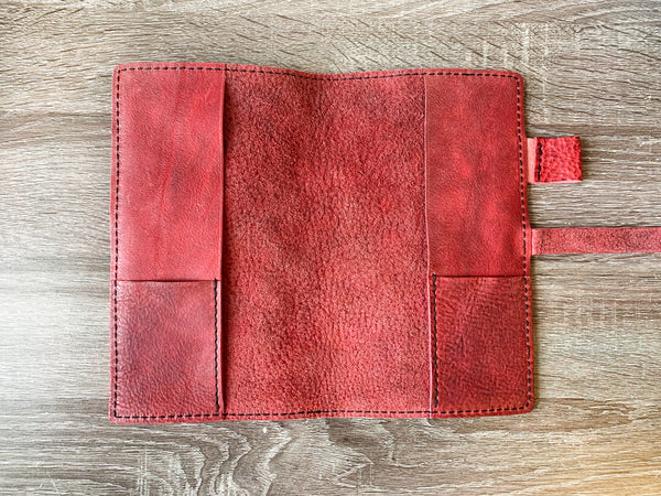 Pink Panther and Wild Cherry Leather Cover,Standard Regular Size, Traveler's Notebook Leather Cover