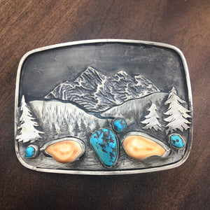 'Mountain Boulders' Belt Buckle