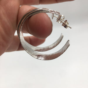 Forged Sterling Hoops
