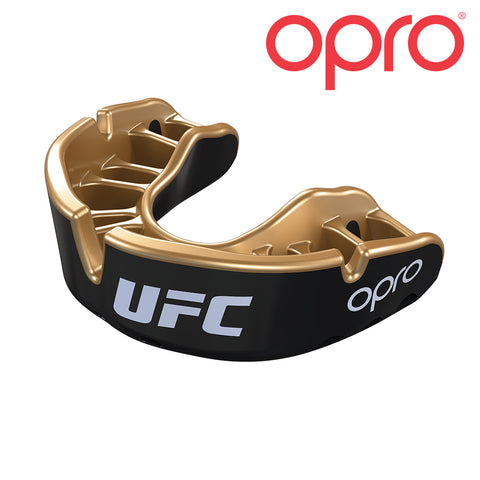 OPRO Self-Fit UFC FULL PACK Gold Braces - Black Metal/Silver