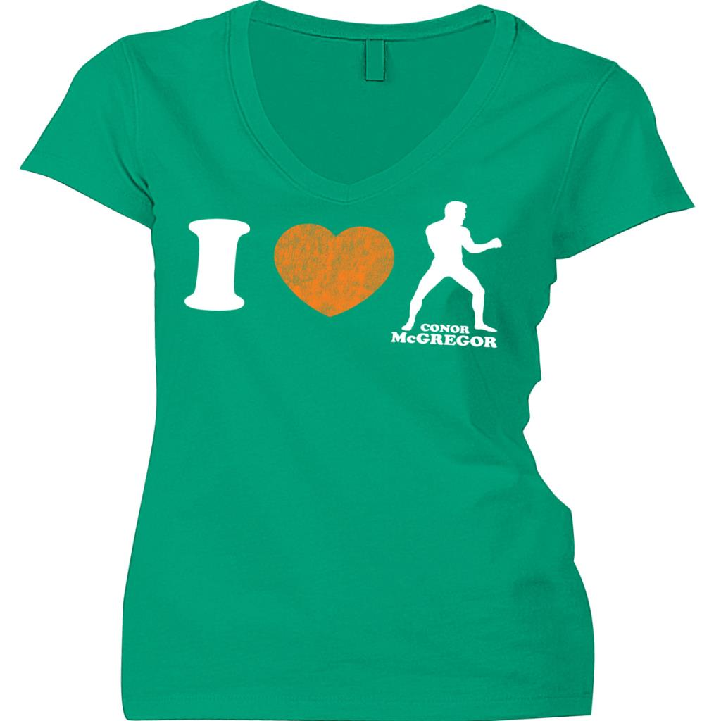 Women's Conor McGregor Kelly Green I Heart Conor McGregor T-Shirt