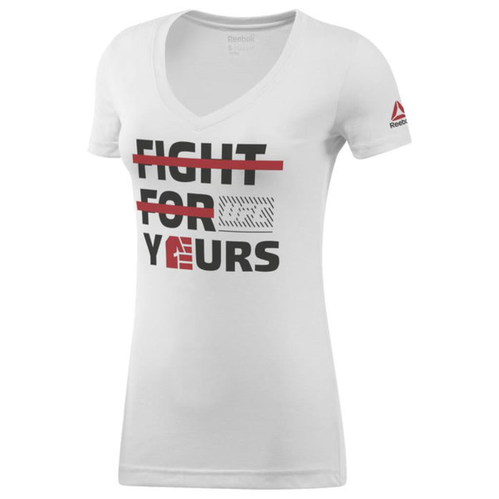 Women's Reebok White UFC Fight For Yours V-Neck T-Shirt