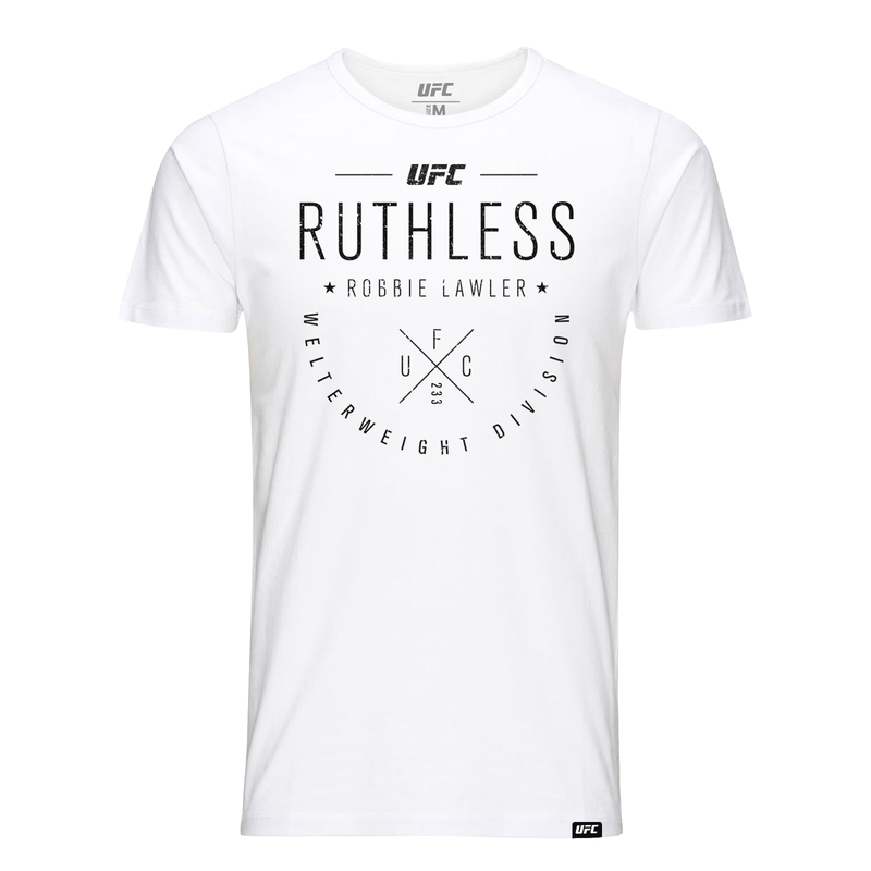 "Men's Robbie ""Ruthless"" Lawler Script UFC T-Shirt- White"