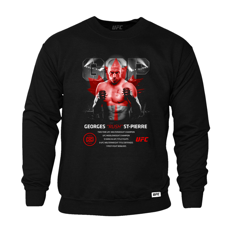 "Men's Georges ""Rush"" St-Pierre Legacy ICON UFC T-Sweatshirt- Black"
