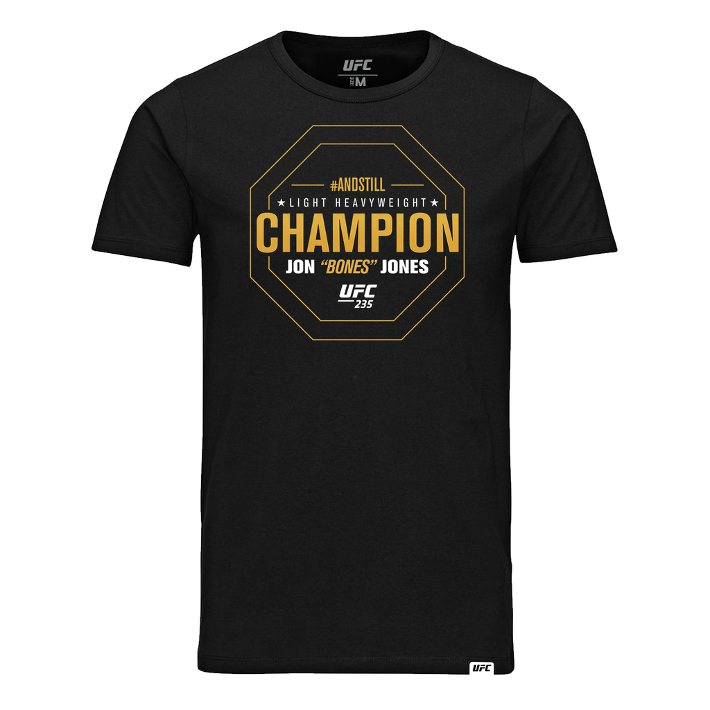 "Men's UFC 235 #AndStill Jon ""Bones"" Jones Light Heavyweight Champion T-Shirt- Black"