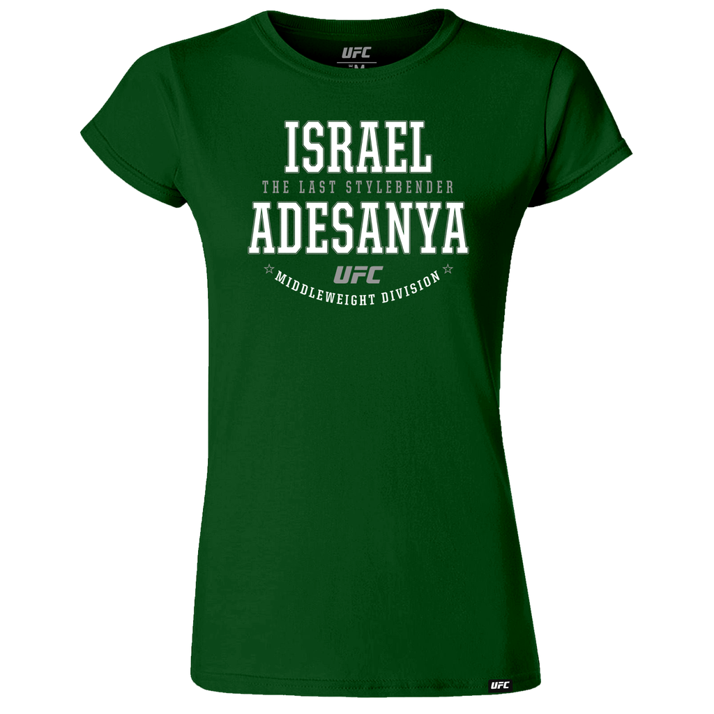 "Women's Israel ""The Last Style Bender"" Adesanya Graphic UFC T-Shirt- Green"